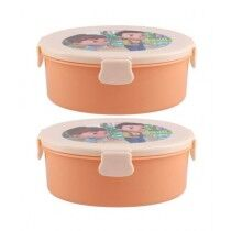 Appollo Oval Lunch Box Peach - Pack of 2