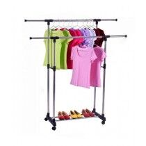 Easy Shop Double Pole Cloth Hanging Stand