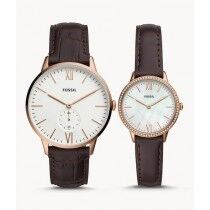 Fossil Three-Hand Leather Couple Watch Brown (FS5564SET)