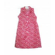 MA Garments Flower Design Frock For Girls Red