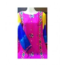 MakAsh Embroidered Silk Shirt For Women Multicolor