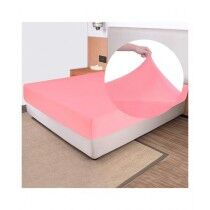 Rainbow Linen Jersey Fitted Bed Sheet King Size Pink (RHP229)