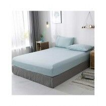 Rainbow Linen Jersey Fitted Bed Sheet Single Size Light Blue (RHP101)
