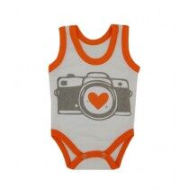 Rompers Sleeveless Body Suit For New Born Babies White/Orange (0022)