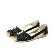 Sage Leather Synthetic Sandal For Women Black (800170)