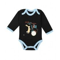 Wokstore Garments Printed Romper For Baby Black/Blue